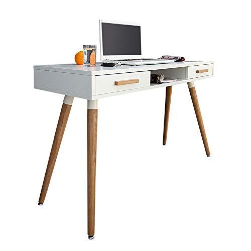 Riess Ambiente Retro Schreibtisch Scandinavia 120cm weiß Eiche Konsole Tisch Konsolentisch Bürotisch Laptoptisch