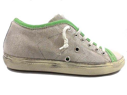 scarpe donna LEATHER CROWN 35 sneakers beige verde camoscio tessuto AY953