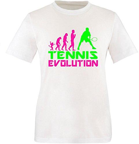 EZYshirt® Tennis Evolution Herren Rundhals T-Shirt Weiss/Pink/Neongr