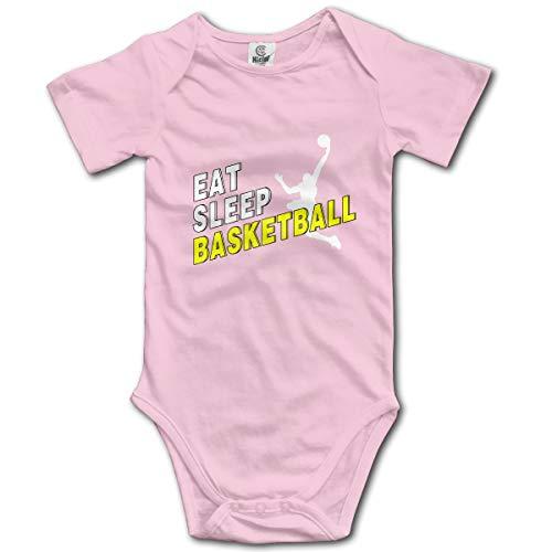 Abigails Home Essen Sie Schlaf Basketball-1 Neugeborenes Mädchen Baby Strampler Kurzarm Kleinkind Overall(2 t,Pink) Abigail Caps