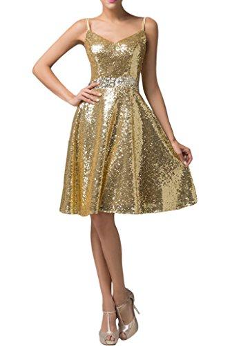 missd ressy Donna A linea di paillette breve istituzione Pieghe Party Dress abito da cocktail dress Oro