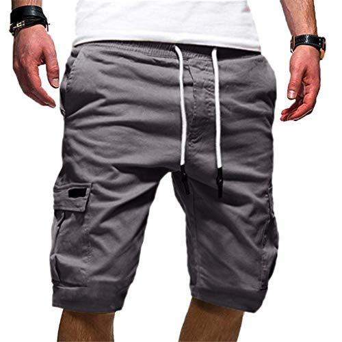 KIMODO Herren einfarbig Bandage Shorts Chino Hose Männer lose Sport Jogginghose Freizeithose Tunnelzug Outdoorhose (Herren Grau Batman Anzug Hoodie)