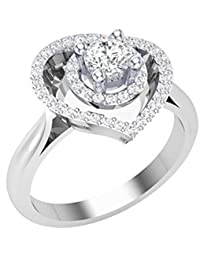 RG Jewellery-14k-White-Gold-Plated-Cubic -Zirconia-925-Sterling-Silver-Beautifull-Heart-Ring