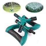 HALOViE Irrigatore da Giardino Rotazione a 360 ° Irrigatore a Pioggia Automatico 3 Braccetti Risparmia Acqua per Piante Prato Fiori Giardini