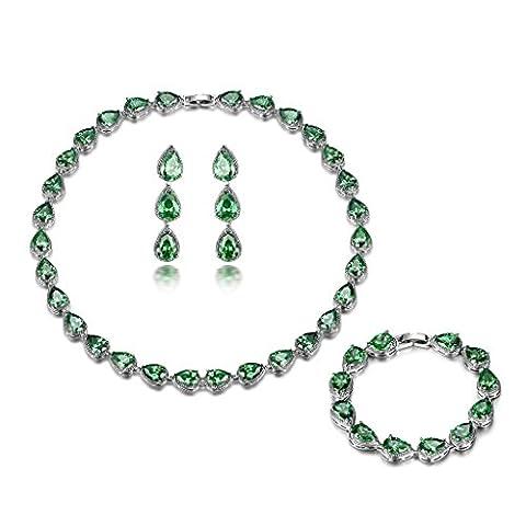 GULICX Tropfen elegant Smaragd Farbe Schmuckset Grün Zirkonia Armband Ohrhänger und Halskette