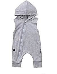 Enhill Toddler Infant Baby Boy One Piece Sleeveless Hoodie Romper Jumpsuit With Zipper
