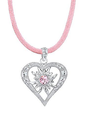 Elli Damen-Kette mit Anhänger Herz 925 Sterling Silber Swarovski Kristall rosa 0106660914_45