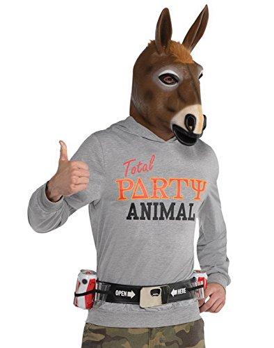 Faschingsfete Herren Kostüm Partytier Hoodie- Pferd- Maske, Grau, Größe M