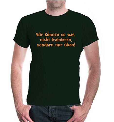 buXsbaum® T-Shirt Nicht trainieren sondern üben Bottlegreen-Neonorange
