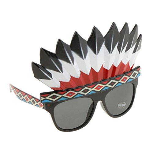 Blesiya Weihnachten Neues Jahr Party Sonnenbrille Spaßbrillen Party Kostüm Partybrillen Mehr Muster - Indian Native American, 13 x 16 cm