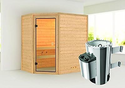 Cilja - Karibu Sauna Plug & Play inkl. 3,6 kW-Ofen - ohne Dachkranz - von Woodfeeling GmbH - Du und dein Garten