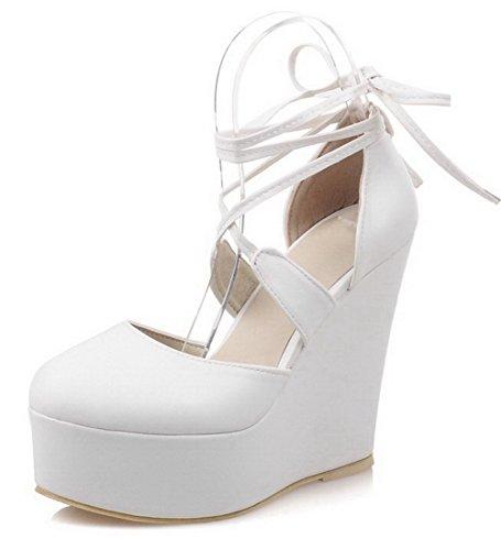VogueZone009 Damen Rein Weiches Material Hoher Absatz Schnüren Rund Zehe Pumps Schuhe Weiß