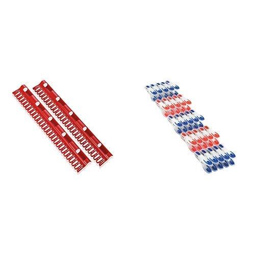 Leifheit 81534 Kleinteilehalter 2er Set Pegasus &  Wäscheklammer 25er Set, mit extra weicher Komponente, Klammern mit angenehm breiter Fläche zum Zudrücken, optisch ansprechende Wäscheklammern