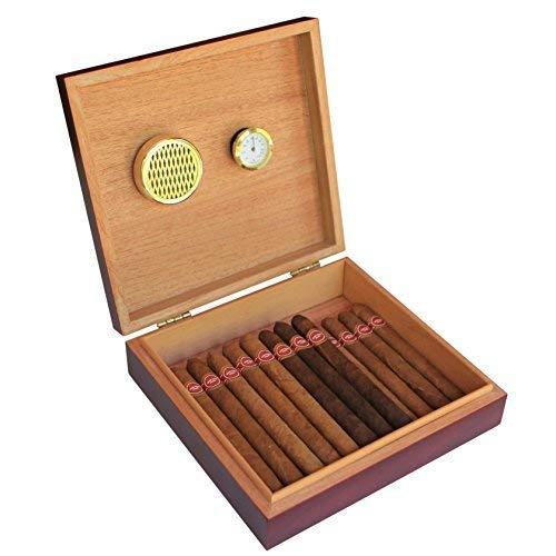 CASE ELEGANCE Cave à cigares en cèdre, Humidor Cigares avec Hygromètre et Humidificateur Intégré, Boîte à Cigares avec Fermeture Magnétique, Couleur Cerise