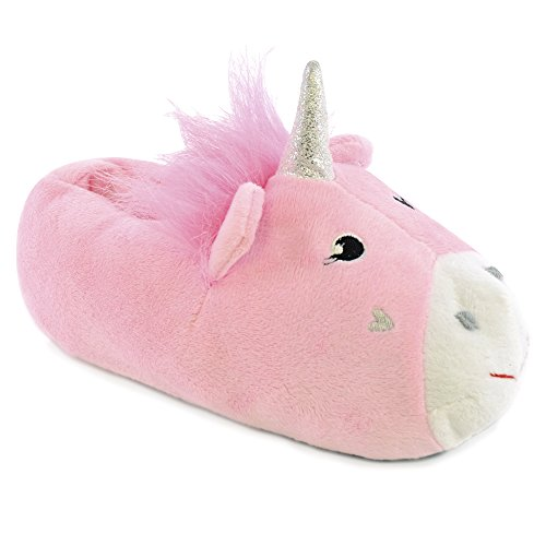 Girls Enchanting Novelty Unicorn Plush Lined 3D Slippers With Fabric Non-Slip Sole (M 11/12, PINK)