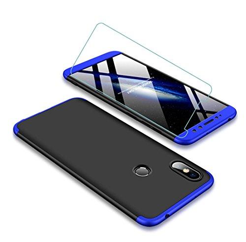 Funda Xiaomi Redmi S2 360 Grados Azul Negro Ultra Delgado Todo Incluido Caja del teléfono de la Protección 3 en 1 PC Case + Protectora de Película de Vidrio Templado JOYTAG-Azul Negro