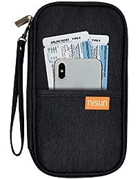 NISUN Nylon Travel Passport Holder Credit Card Wallet Case for Men & Women