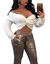 LemonGirl Women Fashion Plush Long Sleeve Tie Knot White Brown Wrap Crop Top Blouse S-XL