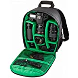 Mochila para cámaras acolchada a prueba de choques insertar protección flexible bolsas para cámaras réflex digital y videocámaras y otros accesorios (Verde)