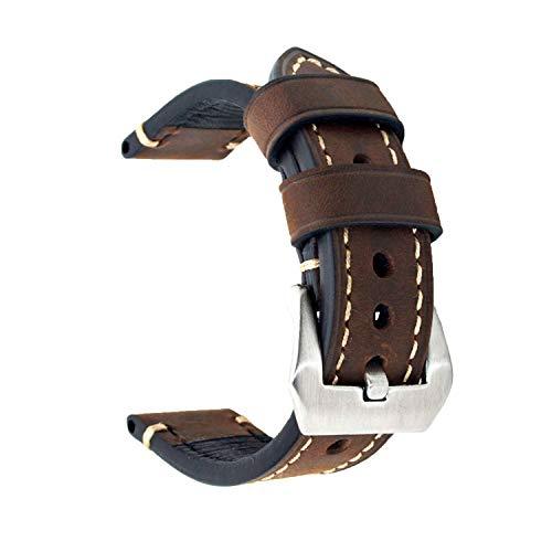 Ersatz-Uhrenband, echtes Leder, für Armbanduhr, Vintage-Stil, für Herren/Frauen, mit Edelstahlschnalle, schwarz/braun, 20mm/22mm/24mm, dunkelbraun, 22 mm - Maverick Leder