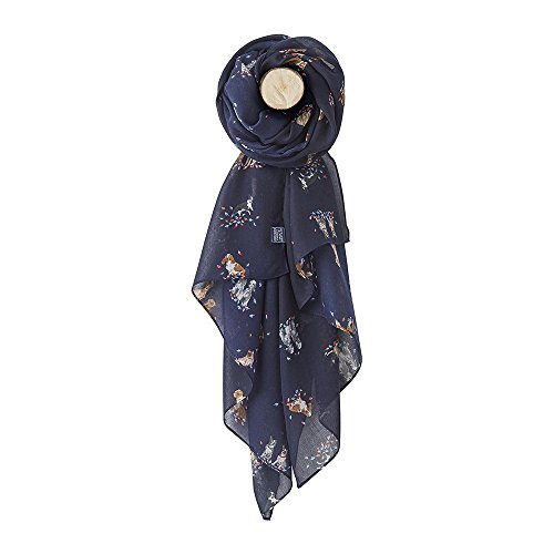 Joules Womensladies Z Wensley Printed Lightweight Polyester Scarf