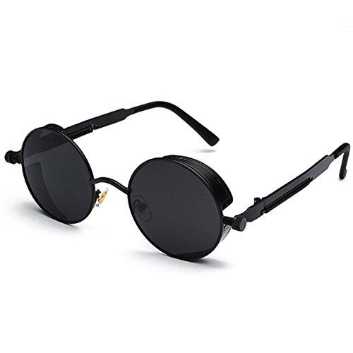 Gafas de sol, Charminer gótico Steampunk estilo Retro Ronda gafas de sol para mujeres hombres Ronda lente metal punk gafas gafas de Hippy negro negro
