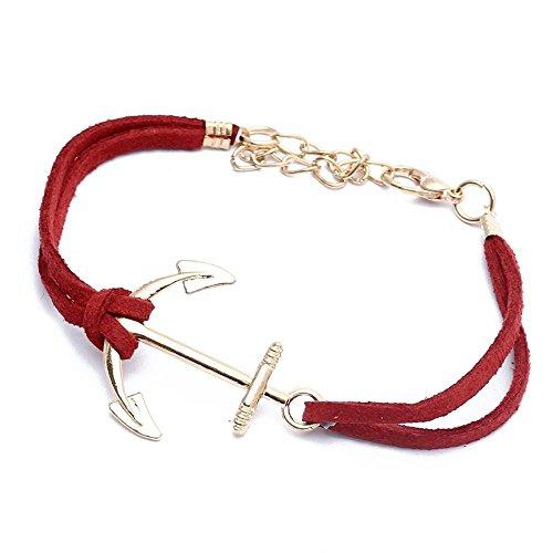 Sodial Regalo Corda In Oro Idea Ancora Donna Lega rBracciale Rosso Nwvnm80