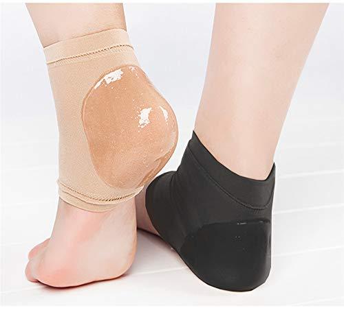 Feuchtigkeitsspendende offene Zehe Silikon Gel Fersen Socken, Spa Socken für trockene harte gebrochene Haut -2 Paar (schwarz und nackt) (Schwarz + Akt, S(EUR35-38))