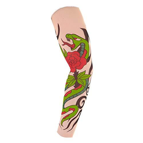 ToDIDAF XH03 Fake Tattoo Kit für Sonnenschutz, Temporäre Tattoo-Ärmel, Armstrümpfe, Halloween Body Art Zubehör für Damen und Herren - 6 Pattens (E) (B)