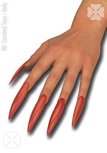 ägel Hexe rote 10PZ Zubehör für Verkleidung Kostüm (Kostüme Fingernägel)