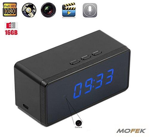 mofek 16GB 1080P HD versteckte Kamera Wecker Nanny Spy Kamera Infrarot-Nachtsicht Video Recorder Home Security-Audio Überwachung Audio Recorder Wifi