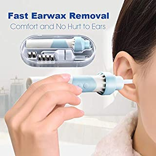 Ear Wax Remover, Kemei Ear Cleaner Electric Earwax Remover with LED Safe and Soft Ear-Pick Tool Upgraded Ear Wax Removal Kit with 2 Heads for Adults and Kids (Blue)