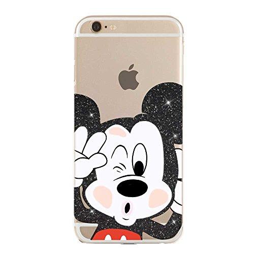 IP6 6S COVER in TPU GEL TRASPARENTE Custodia protettiva, Glitter Special collection, Disney Mickey Mouse Topolino, iPhone 6 6S