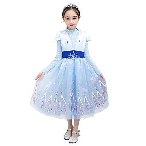 Odizli Mädchen Ice Queen Prinzessin Anna Kostüm Kinder Deluxe Fancy Blaues Kleid Kinder Weihnachten Verkleidung Karneval Cosplay Party Halloween Festkleid mit Rot Umhang Outfits Rot 6-7 Years