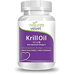 Natures Velvet Lifecare Krill Oil 500 mg, with Astaxanthin, the best source of Omega 3 Fatty Acids, 30 Softgels - Pack of 1