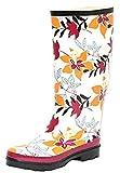 ZAPATO EUROPE Damen Regenstiefel Gr. 41 Blumen Print Gummistiefel Stiefel Langschaft Outdoor (41 EU)