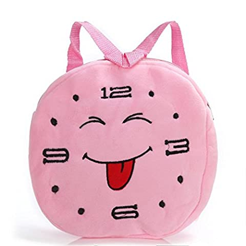 TIREOW Kids Rounded Time Cute Sense Emoji Emoticon Unisex Softback Villus Shoulder Bookbags with Zipper For Boys Girl 27# (D)