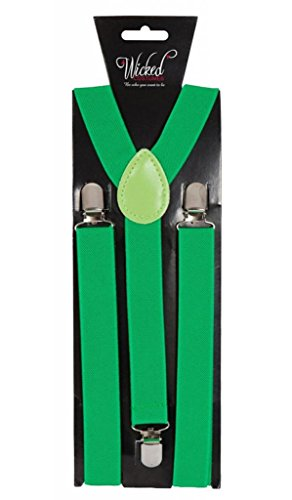 Adult Braces 96 x 2.5cm - GREEN Fancy Dress Accessory