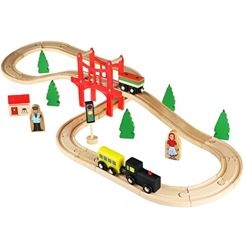 ACOOLTOY Wooden Railway Train Set - 37 Pieces with for sale  Delivered anywhere in UK