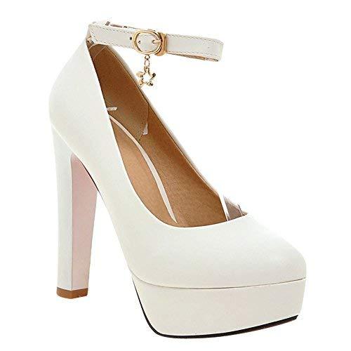 MissSaSa Scarpe col Tacco Alto Donna Elegante (38, Bianco)