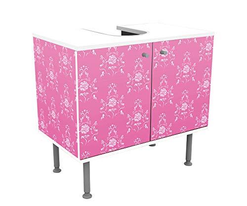 wandmotiv24 Badunterschrank Barock Pink Muster Designschrank Bad Unterschränke Front- &...