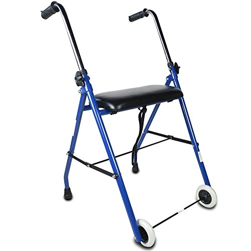 Foto de Andador para ancianos | Aluminio ultraligero | Plegable | Fácil Uso y Transporte | 2 Ruedas delanteras y 2 conteras traseras | Asiento acolchado y empuñadura ergonómica | Peso máximo soportado 100 Kg | Modelo Emerita | Mobiclinic
