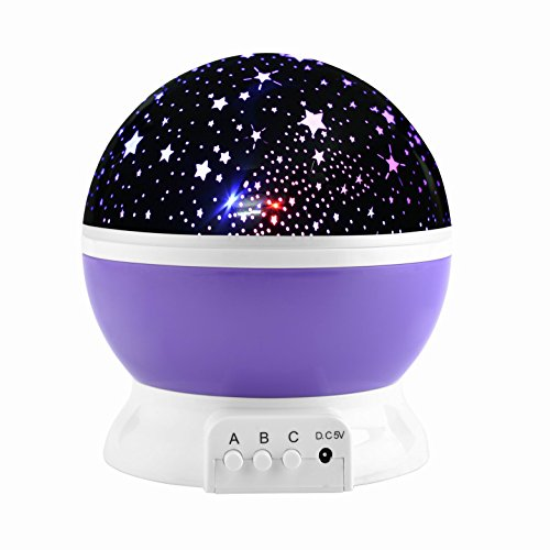 Moon star night lighting projection lamp, colorful LED baby nursery bedroom night lamp, rotating romantic starlight projector for kids baby sleeping use by TT Global (Purple)