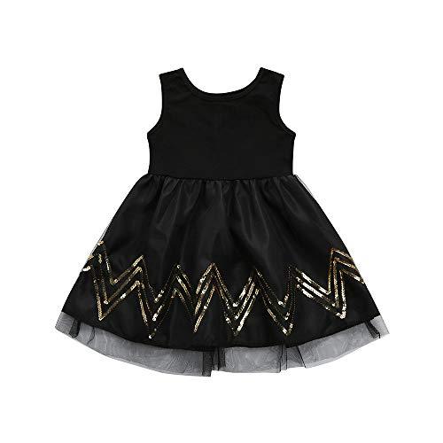 IZHH Kinder MäDchen Rock Kind Pailletten Gewelltes äRmelloses Schwarzes Kleid Netzkleid Kinder Kleinkind Baby MäDchen TüLl Ripple Tutu Princess Black Dress Outfits(Schwarz,140)