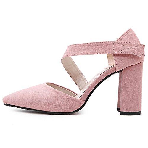 Oasap Women's Pointed Toe Velcro Block Heels Pumps pink