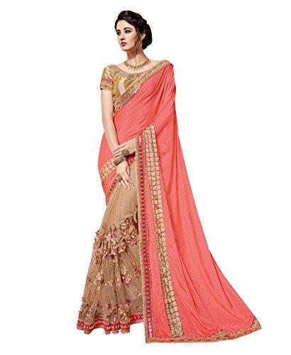 Indian Designer Pure Silk Peach Coloured Bridal Wear Saree With Blouse.