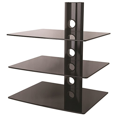 NEG Multimedia TV-Rack Suspender 503B (schwarz) mit 3 Glas-Ablagen und Kabelmanagement-System -