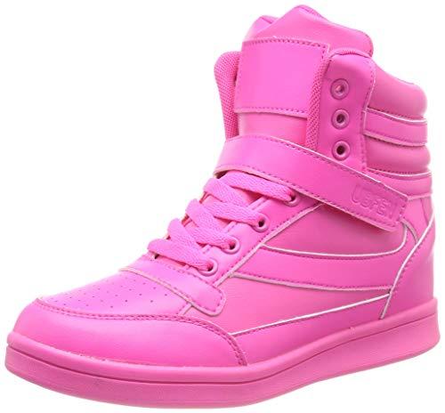 UBFEN Damen Sneaker Wedges Keilabsatz Schuhe High Top Stiefeletten Sportschuhe Klettverschluss Freizeitschuhe Turnschuhe Stiefel 39 EU Pink (Pink Wedges Frauen Für Schuhe)