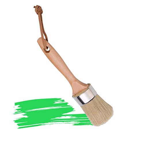 Wachs Pinsel, Tectri Rundpinsel mit Natürlicher Schweineborsten und Holzgriff für Malen Reinigung Kreidefarbe Möbelwachs Home Decor