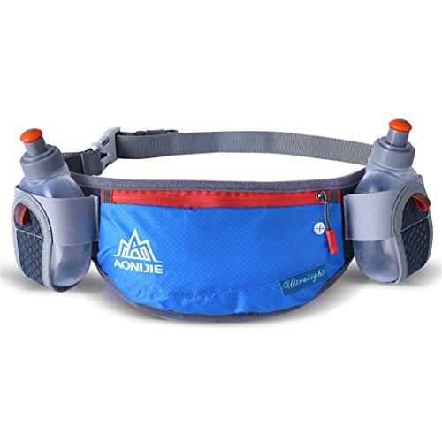AONIJIE Männer/Frauen Sport Trinkgürtel mit 2 Stücke Trinkflaschen Hüfttasche Geeignet für Einstellbarer und stabil Taille Pack für Joggen, Wanderung (Blau) - Läufer Headset